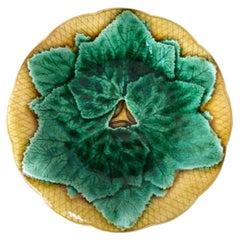 French Majolica Leaves Plate Gien, circa 1880