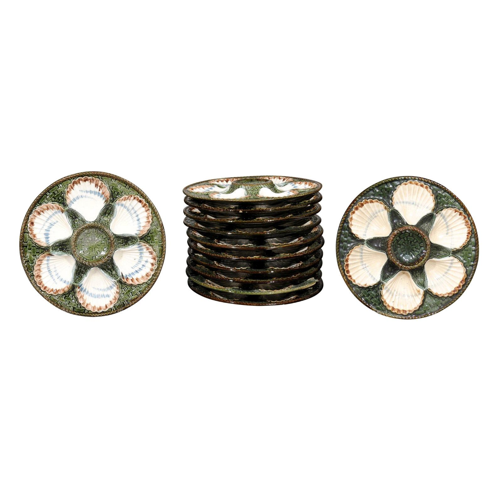 French Majolica Longchamp Terre de Fer Green Scallop Plates, 6 Available