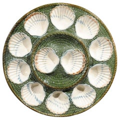 French Majolica Longchamp Terre de Fer Green, White and Brown Scallop Platter
