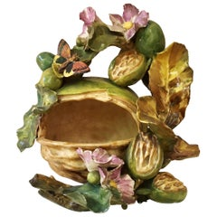 French Majolica Nut and Butterfly Jean Pointu, circa 1880