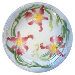 French Majolica Orchid Plate Saint Clement, circa 1900