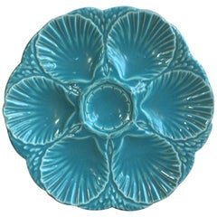 French Majolica Oyster Aqua Turquoise Plate Sarreguemines, circa 1890