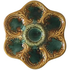 French Majolica Oyster Plate, circa 1900