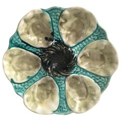 French Majolica Oyster Plate Orchies, circa 1900