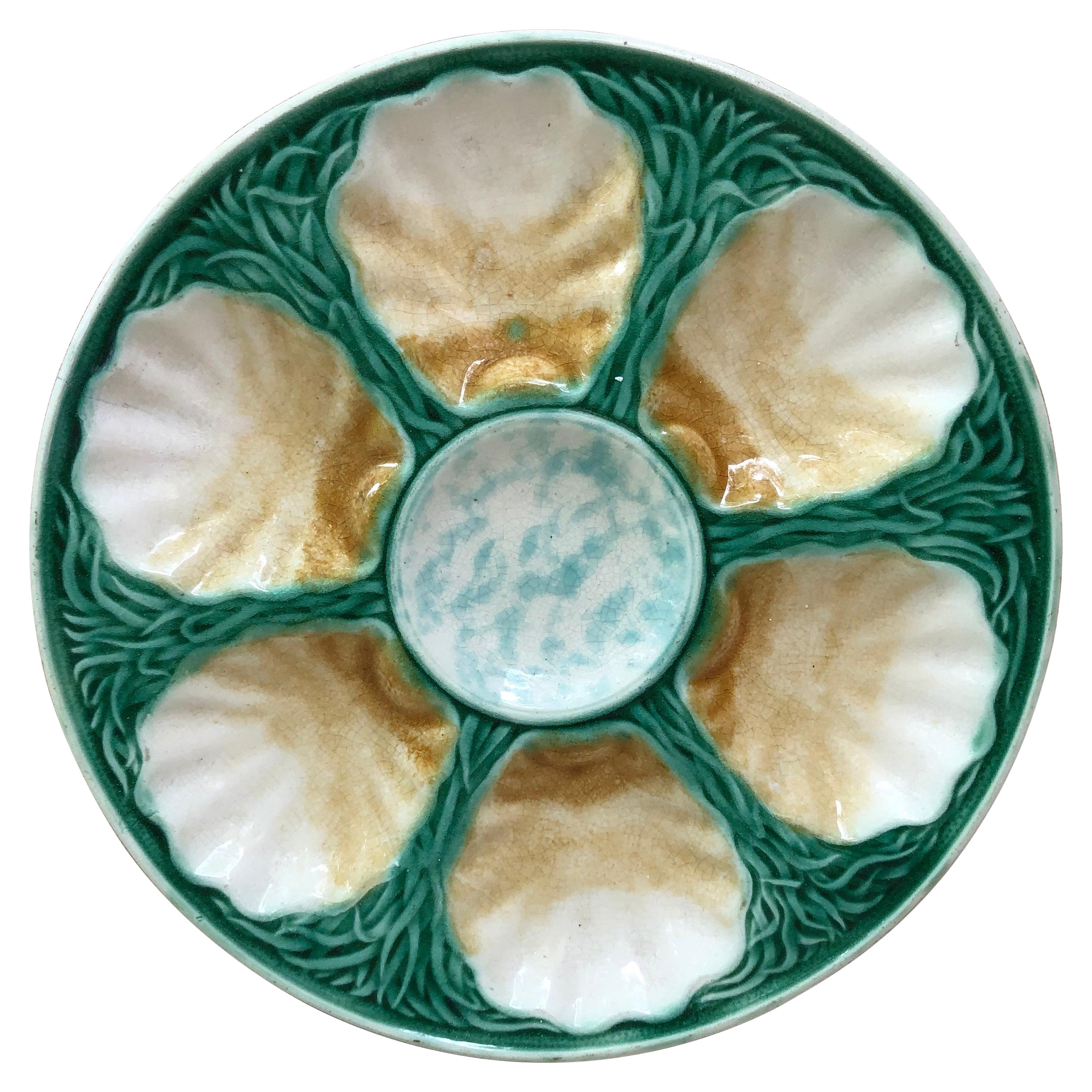 French Majolica Oyster Plate Salins, circa 1890
