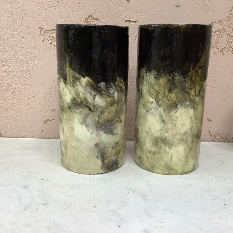 French Majolica Pair of Vases with Painted Flowers Pointu, circa 1880 In Good Condition For Sale In The Hills, TX