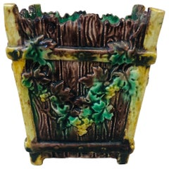 French Majolica Palissy Jardinière with Grapes Thomas Sergent, circa 1880