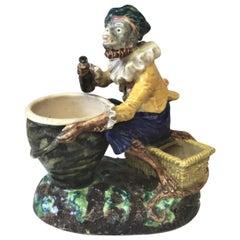 French Majolica Palissy Monkey Vase, circa 1880