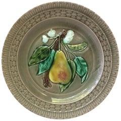 French Majolica Pear Plate, Luneville, circa 1880