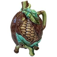 French Majolica Pitcher Cocoa Bean, circa 1880