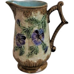 French Majolica Pitcher Orchies, circa 1890