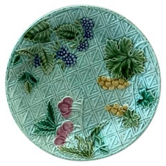 French Majolica Plate Fruits Salins, circa 1890