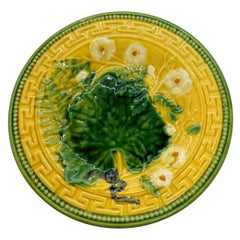 French Majolica Plate, Leaf and Fern, Greek Key Border on Yellow, Choisy-le-Roi