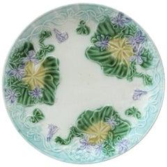 French Majolica Plate Violets Salins, circa 1890