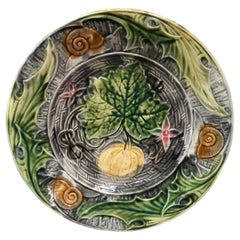 French Majolica Plate with Pumpkin & Snail Onnaing, circa 1890