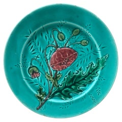 French Majolica Poppies Plate Luneville, circa 1880