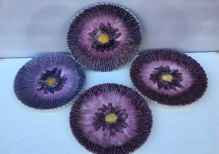 Art Nouveau French Majolica Purple Daisy Plate Orchies, circa 1890 For Sale