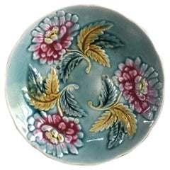 French Majolica Red Flowers Plate, circa 1890