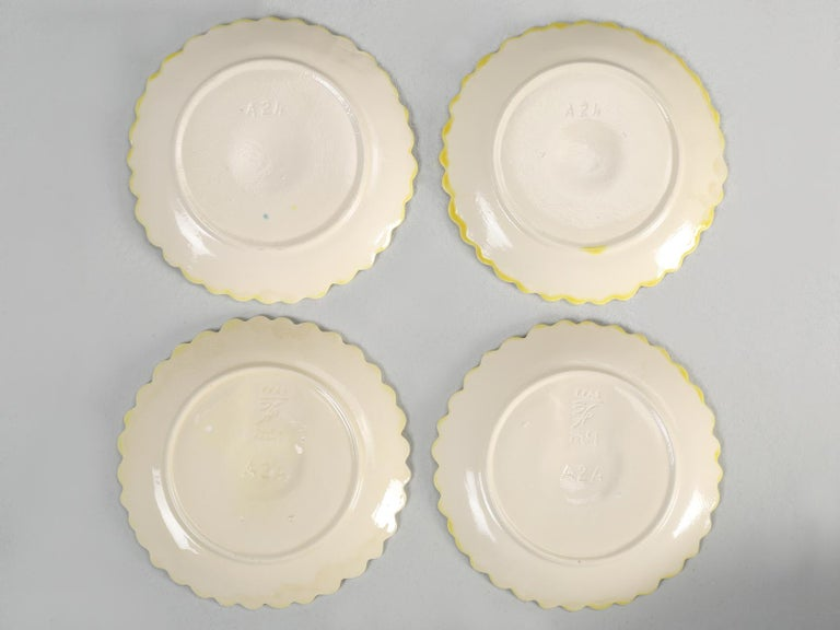 French Majolica Salad or Dessert Plates, Sunflower Pattern For Sale 6