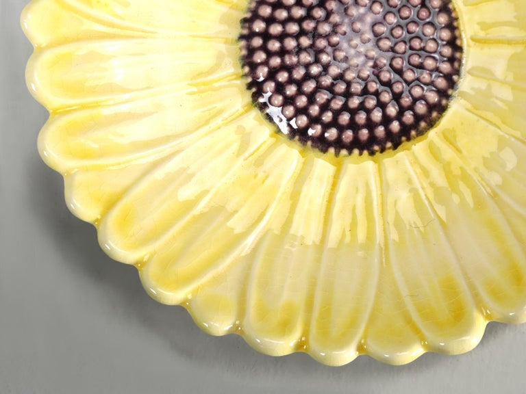 French Majolica Salad or Dessert Plates, Sunflower Pattern For Sale 2