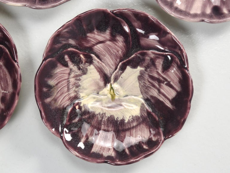 French Majolica Set of '5' Dessert or Salad Plates For Sale 1
