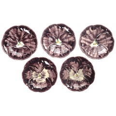 French Majolica Set of '5' Dessert or Salad Plates