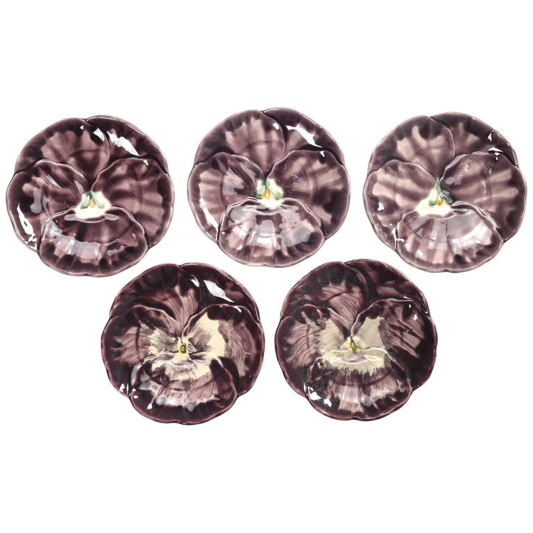 French Majolica Set of '5' Dessert or Salad Plates For Sale