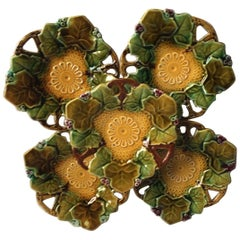 French Majolica Small Dish with Leaves, circa 1880