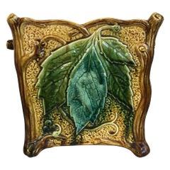 French Majolica Square Leaf Cachepot, circa 1890