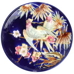 French Majolica Trompe L'oeil Charger Parrots on Cobalt Blue Ground, 1880