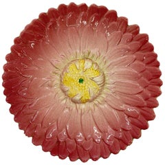 French Majolica Trompe L'oeil Pink Sunflower Plate by Delphin Massier circa 1870