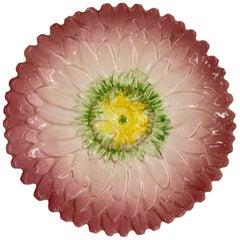 French Majolica Trompe L'oeil Pink Sunflower Plate, Delphin Massier, circa 1870