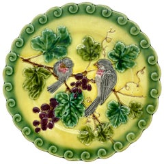 French Majolica Trompe L'oeil Plate, Pink Sparrows on Yellow Ground, circa 1865