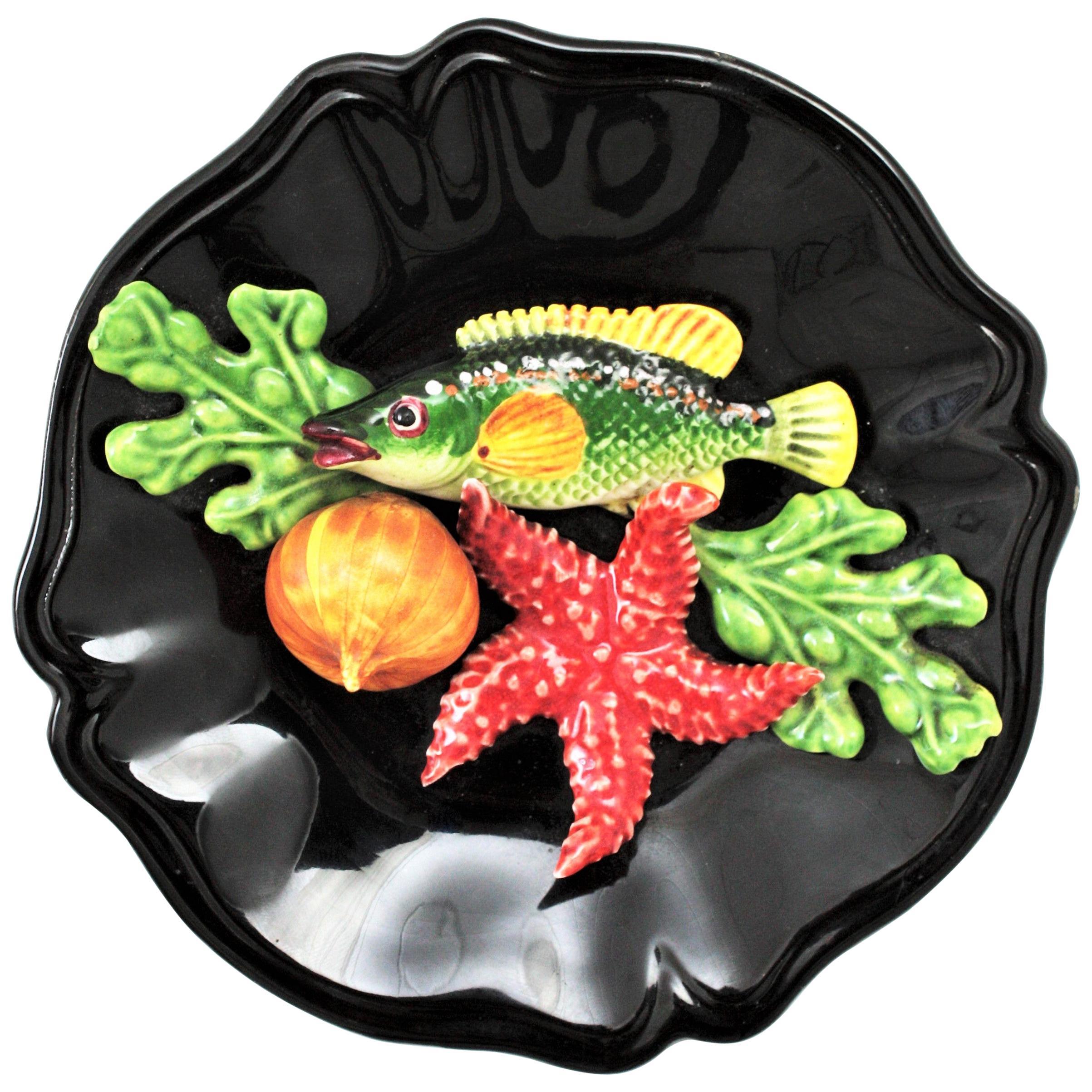 French Majolica Trompe L'oeil Vallauris Ceramic Small Seafood Decorative Plate