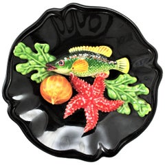 French Majolica Trompe L'oeil Vallauris Ceramic Small Seafood Decorative Plate