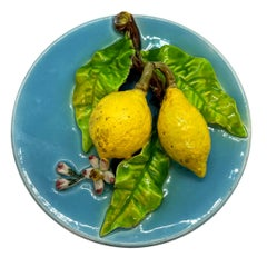 French Majolica Trompe L'oeil Wall Plaque with Lemons, Perret-Gentil, Menton