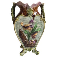 French Majolica Vase with Fishs and Shells, circa 1880