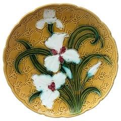 French Majolica White Iris Platter, circa 1900