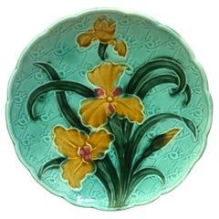 French Majolica Yellow Iris Plate, circa 1900