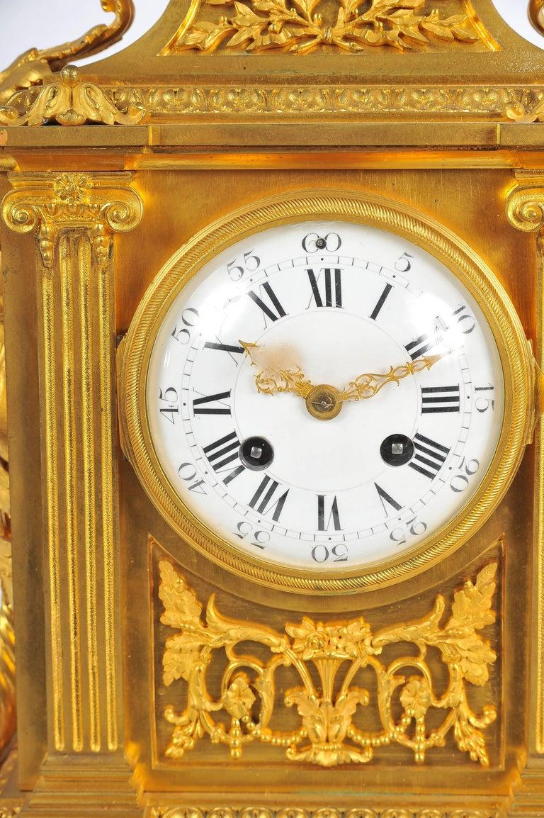 Napoleon III French Mantel Clock, Louis XVI Style, 19th Century For Sale