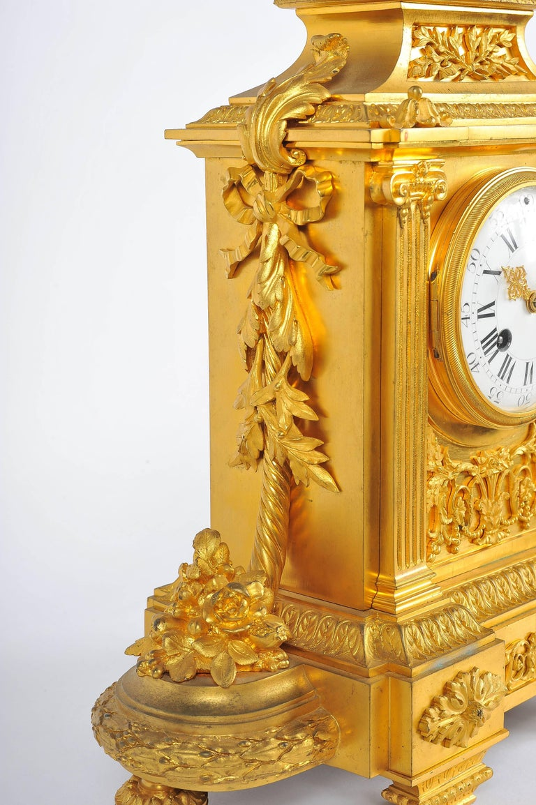 Gilt French Mantel Clock, Louis XVI Style, 19th Century For Sale