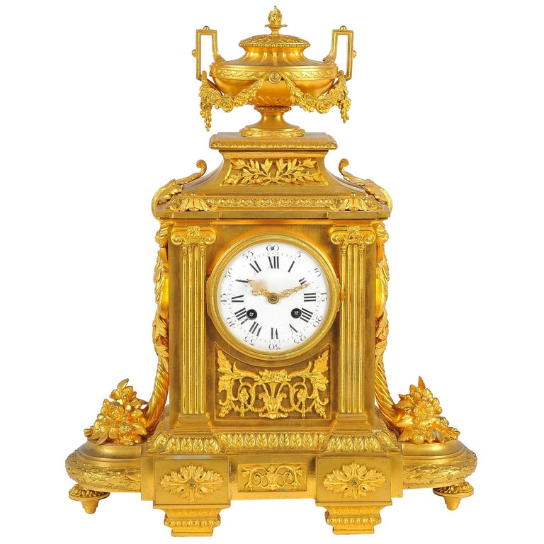French Mantel Clock, Louis XVI Style, 19th Century For Sale
