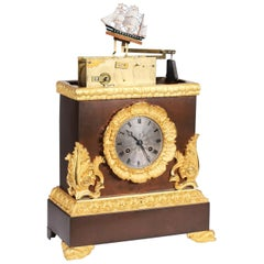 French Mantel Clock, Pendule with Moving Sailboat Automat, Charles X, circa 1840
