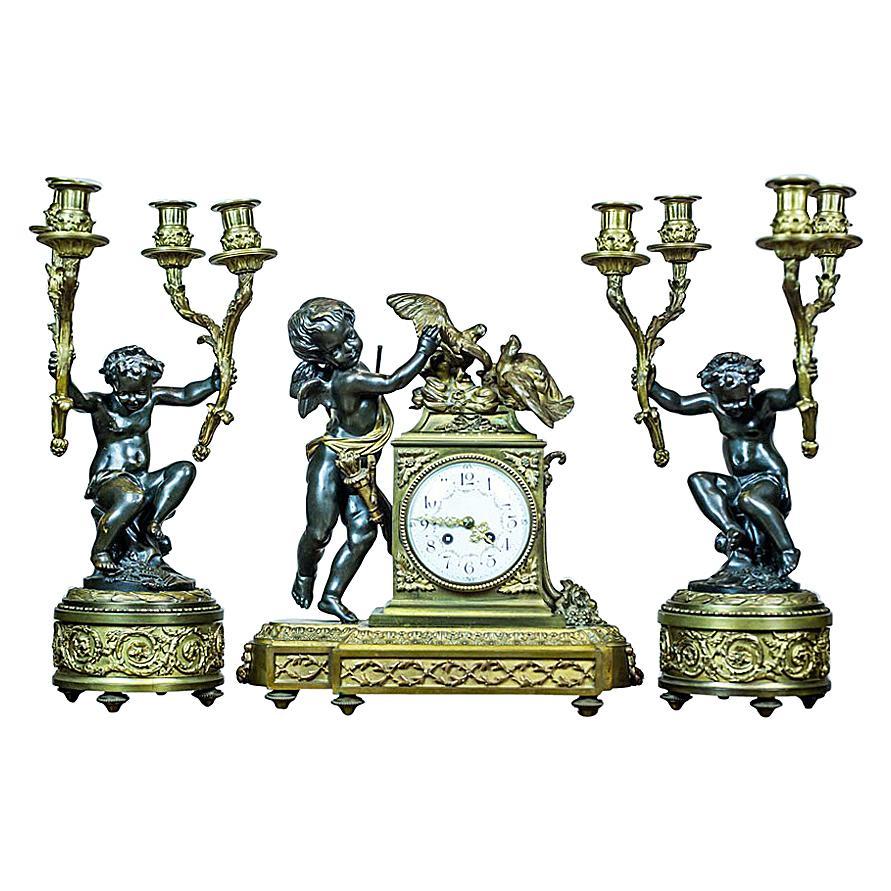 19th-Century French Bronze Mantel Clock Set