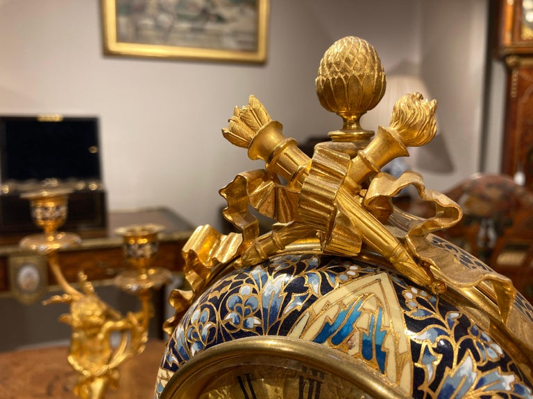 French Mantle Clock Garniture in the Louis XVI Manner For Sale 5