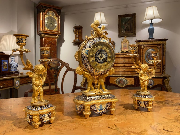 Late 19th Century French Mantle Clock Garniture in the Louis XVI Manner For Sale