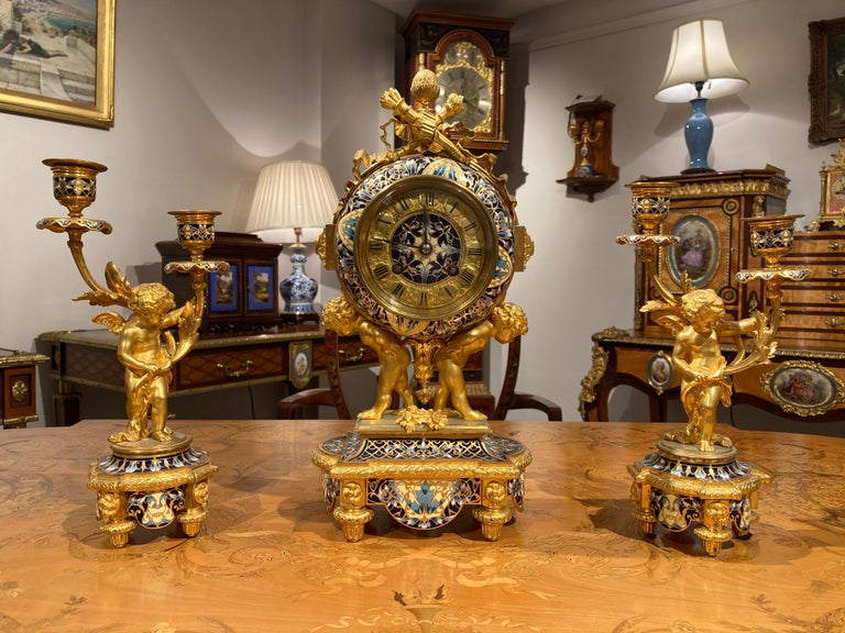 Enamel French Mantle Clock Garniture in the Louis XVI Manner For Sale