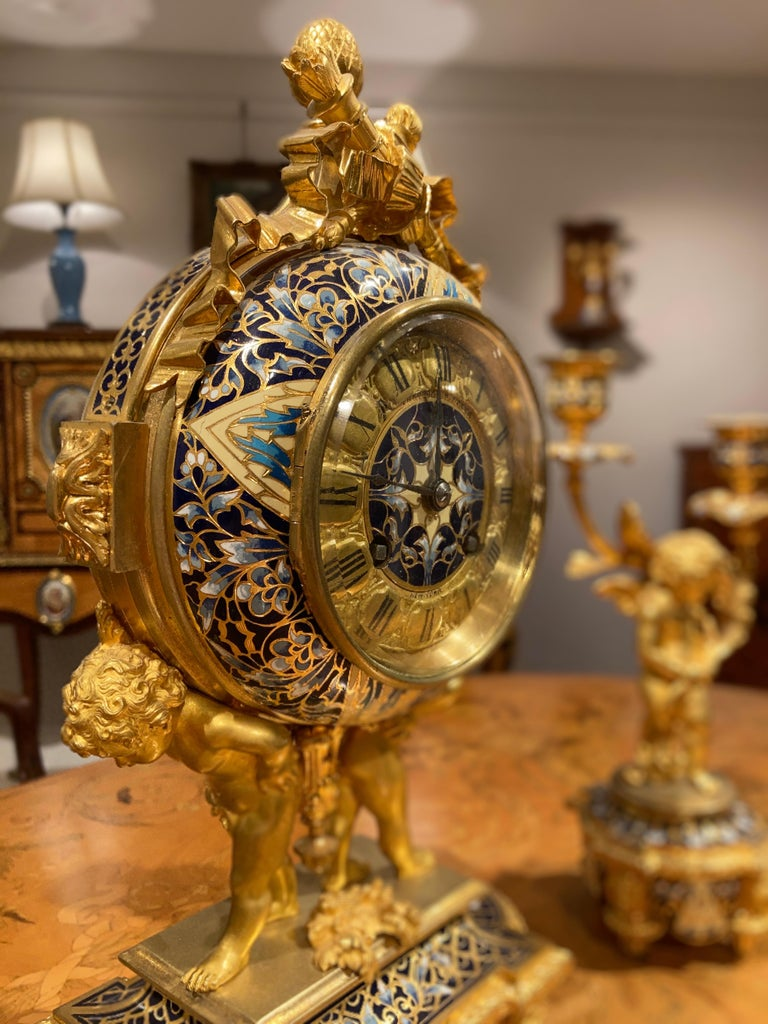 French Mantle Clock Garniture in the Louis XVI Manner For Sale 1