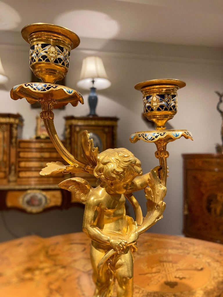 French Mantle Clock Garniture in the Louis XVI Manner For Sale 2