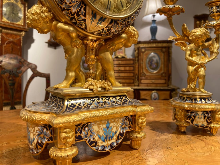 French Mantle Clock Garniture in the Louis XVI Manner For Sale 3